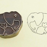 Blokstempel familie Olifant- klein