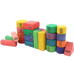 KORXX kurk blokken KORXX Cuboid Edu - 38 gekleurde kurk blokken in viltbox