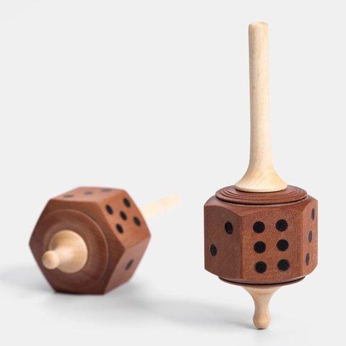 Mader houten tollen Dobbelsteentol voor spellen en rekenen