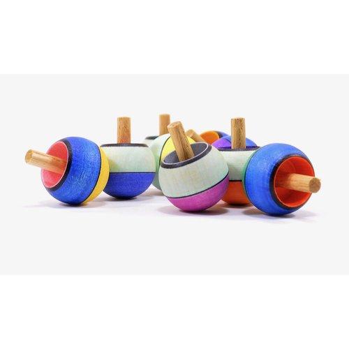 Mader houten tollen Mader Tol omdraaitol brede streep - confetti 32 mm