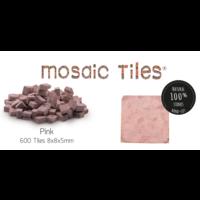 Pot met 600 roze mozaieksteentjes