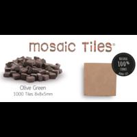 Pot met 1000 olijfgroene mozaieksteentjes