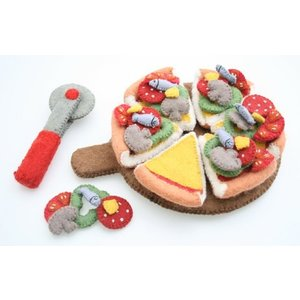 Papoose Toys Pizza set met mes, snijplank en toppings
