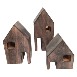 Papoose Toys Drie Houten huisjes