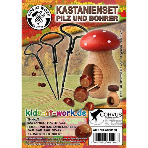 Kids at work kindergereedschap kastanjeknutselset paddenstoel vliegenzwam
