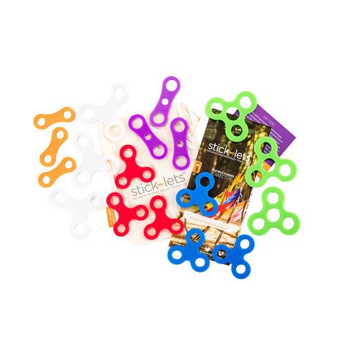 Stick-lets constructiemateriaal voor binnen en buiten Mega Dodeka Fort Kit - 18 Stick-lets - stevige elastieken om hutten mee te bouwen!