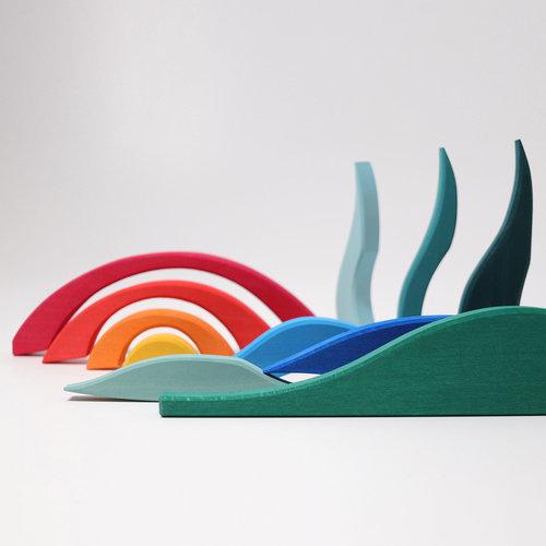 Grimms houten speelgoed Landschapspuzzel - Horizon met verschillende kleuren en vormen