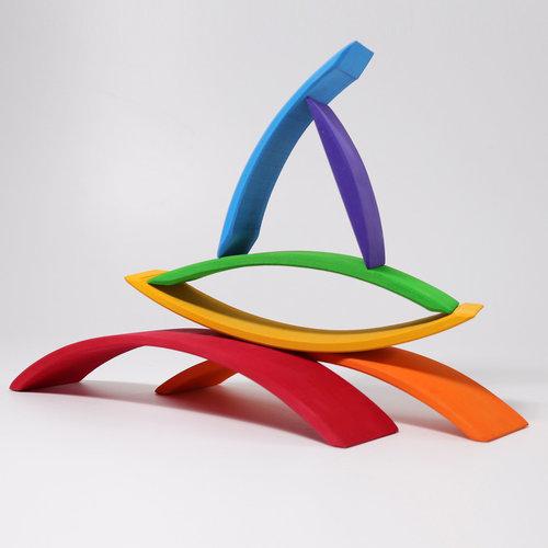 Grimms houten speelgoed Brug regenboog kleuren voor al je auto's