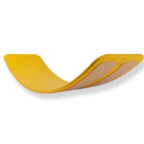 TicToys ecologisch beweegspeelgoed Das Brett flexibel balansbord geel kurk onderlaag