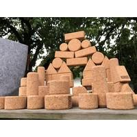 KORXX Form M - 60 kurk bouwstenen in viltbox