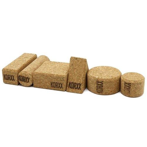 KORXX kurk blokken Form Medium viltbox - 60 kurk bouwblokken
