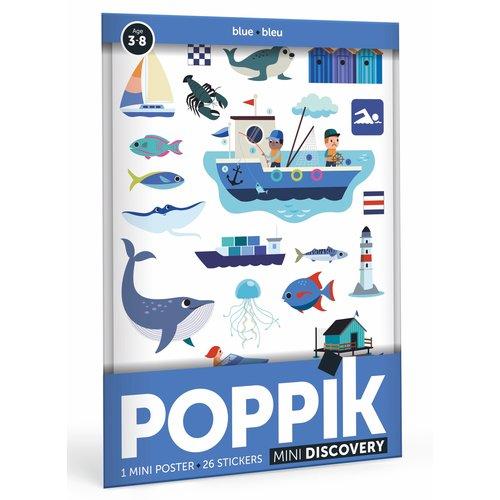 Poppik Poppik stickerposter mini blauw - Thema zee