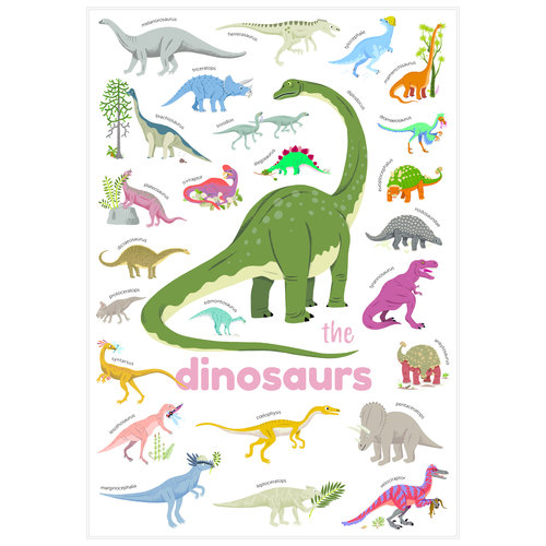 Poppik stickerkunst Poppik stickerposter mini - Thema dinosaurus