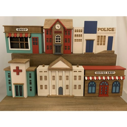 Papoose Toys Papoose Toys - Town Buildings 6 stuks
