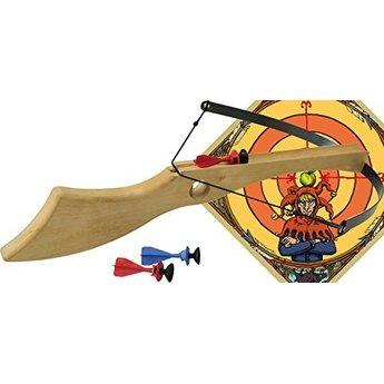 VAH - Spielzeugmanufaktur - kinderspeelgoed uit historische tijden Kruisboog complete set Wilhelm Tell inclusief 3 pijlen en een houten doel/target