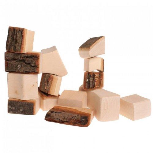 Grimms houten speelgoed Grimms Houtblokken naturel met boomschors