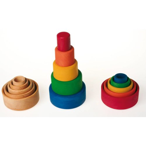 Grimms houten speelgoed Ronde stapelbakjes van hout in blauw sunset