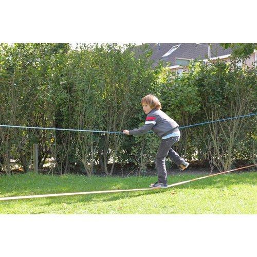 Kids at work kindergereedschap Slackline geel: balanceren voor kinderen en volwassenen -