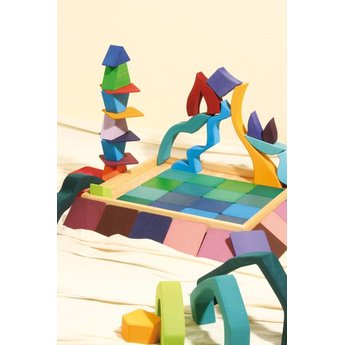 Grimms houten speelgoed vier elementen puzzel en bouwset