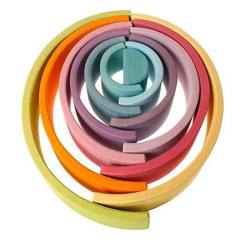 Grimms houten speelgoed Regenboog van hout in pastel kleuren