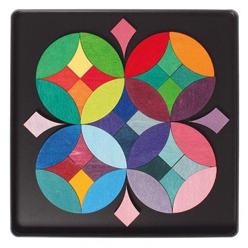 Grimms houten speelgoed Grimms Mini magneetpuzzel Grafische cirkels