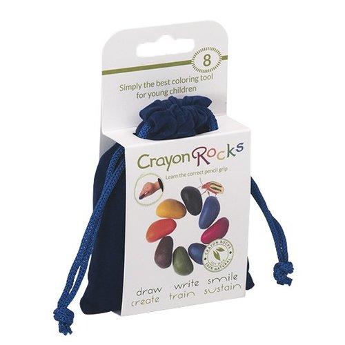 Crayon Rocks sojawaskrijtjes Acht kleurkrijtjes van soja in een blauw fluwelen zakje