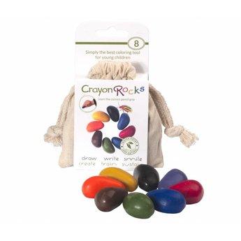 Crayon Rocks sojawaskrijtjes Crayonrocks, ecru katoenen zakje met 8 ecologische krijtjes