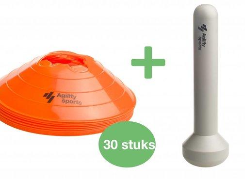 Agility Sports markeringshoedjes set oranje (30 stuks)