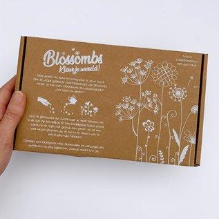 Blossombs geschenkdoos met 9 zaadbommetjes & bio katoenen zakje (groot)
