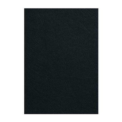 GBC voorblad A4 Karton lederlook 250gr zwart