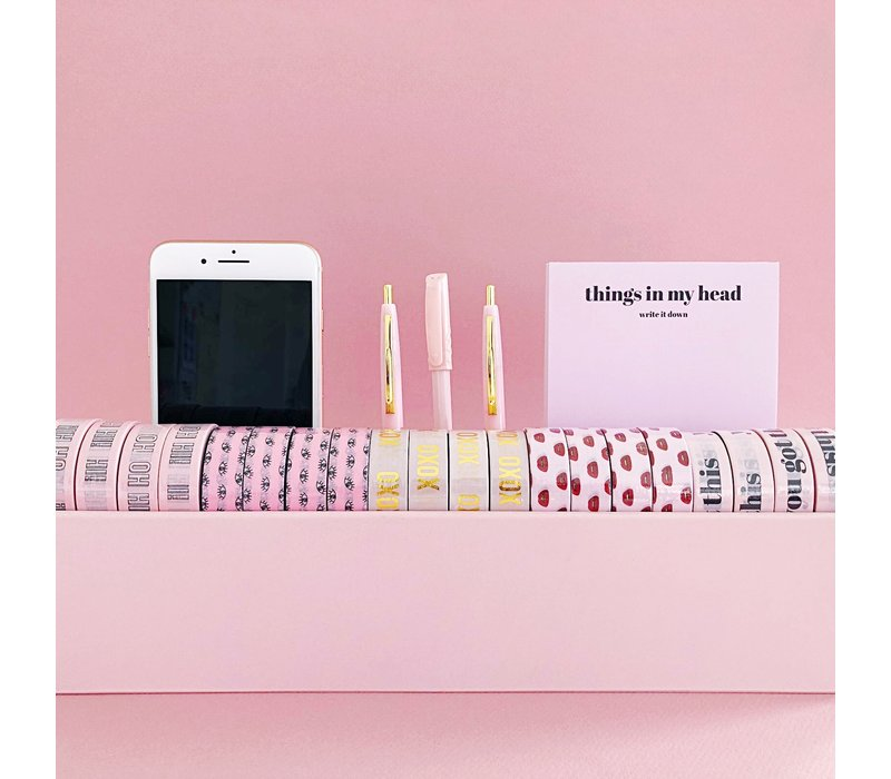 Desk organizer Washi pink