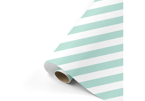 Studio Stationery Gift wrap Bold Lines mint/white 70x200 cm