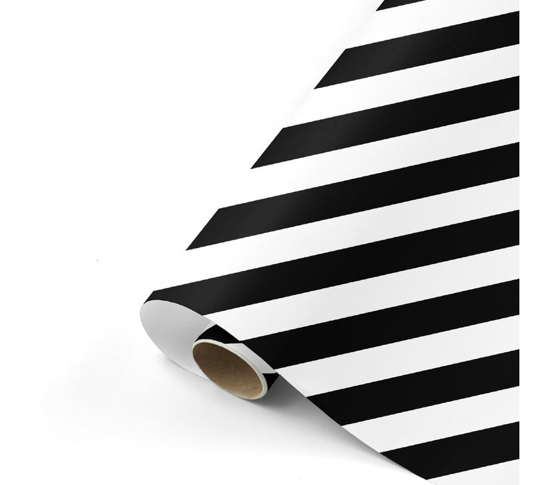 Cadeaupapier Bold Lines zwart/wit 70x200 cm