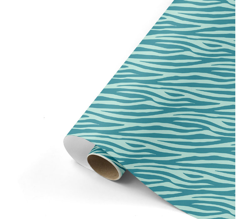 Cadeaupapier Zebra petrol/mint 70x200 cm