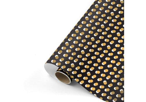 Studio Stationery Cadeaupapier Dots zwart/goud 70x200 cm
