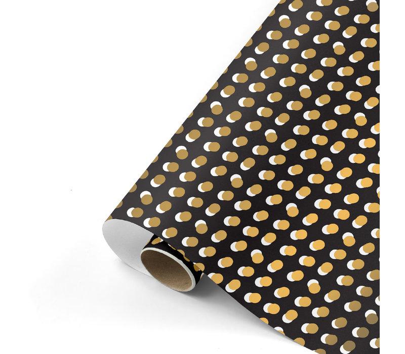 Cadeaupapier Dots zwart/goud 70x200 cm