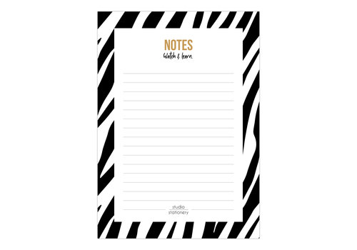 Studio Stationery A6 Noteblock Notes zebra black & white