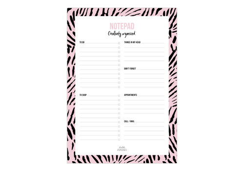 Studio Stationery A5 Notepad Creatively Organized Pink leaves