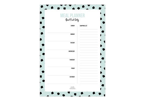 Studio Stationery A5 Noteblock Mealplanner Dots mint