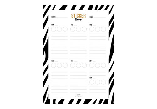 Studio Stationery A5 Noteblock Sticker planner zebra