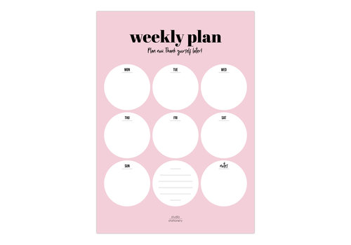 Studio Stationery A4 Noteblock Weekly plan Pink