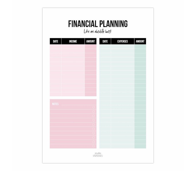 Financial Planning A5 noteblock