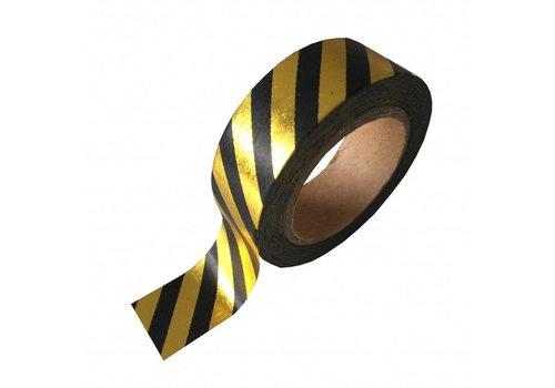 Studio Stationery Washi tape  black/gold stripe