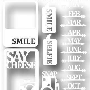 Scrap Peel & Stick Schablone - Say cheese