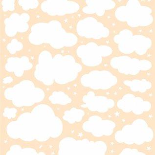 Polybesaschablone - Mixed Media - Wolken + Sterne