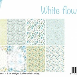 Paperset A4 - White Flowers