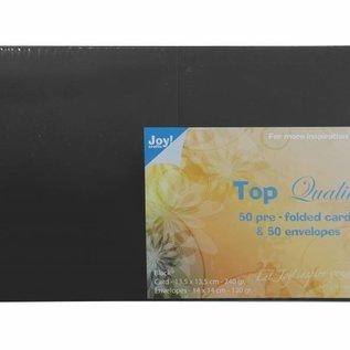 TOP Quality Karten & Umschläge Schwarz 135x135 mm