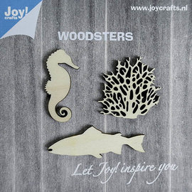 Woodsters - Holz Figure - Seepferdchen - Koralle - grosse Fisch