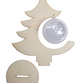 Christmastree wood with transparent ball 8 cm