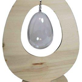 Hölzernes stehendes Ei mit transparentem Ei